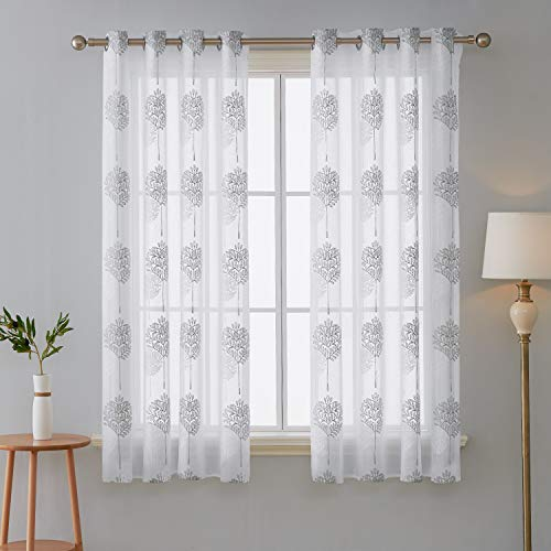 Deconovo tende trasparenti voile ricamate con occhielli per camera da letto bianco 140x138 cm due pannelli