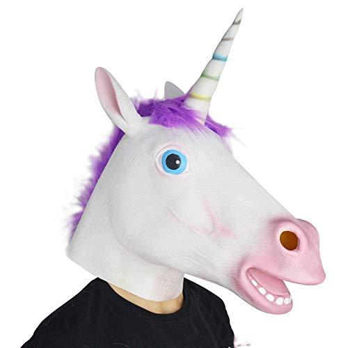 Dress Burlesque Up Kostüm - QAZXS Halloween Party Einhorn Pferdekopfmaske Kopfbedeckung des weißen Pferdes Umweltfreundlicher Latex Tiermaske Purple