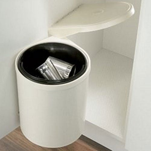 NEW waste bin, 10 litres kitchen swing out and open lid cream bin