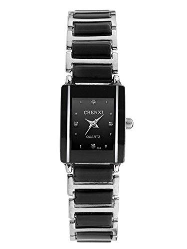 CHENXI Liebespaar Edelstahl Armbanduhr Größes Zifferblatt Herren Businessuhr Analog Luxus Quartz Damen Uhren für Geschäftsmänner-Schwarz