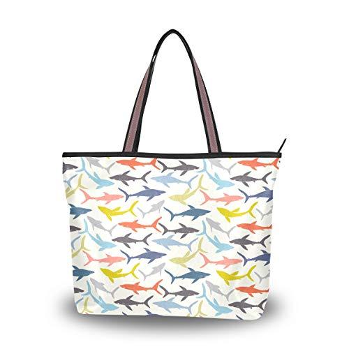 Colorful Sharks Shoulder Bags La...
