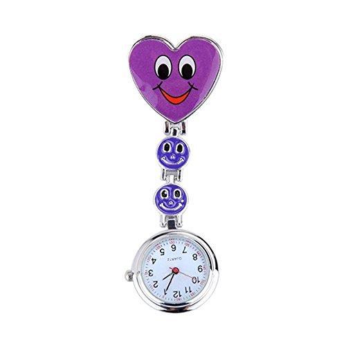 Finerplan Krankenschwestern-Armbanduhr, Herz-Motiv, mit Smile-Gesicht und medizinischen Krankenschwestern violett