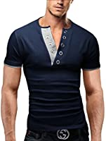 MERISH Herren Poloshirt Slim Fit V-Ausschnitt Kurzarm T-Shirt Hoodie 71