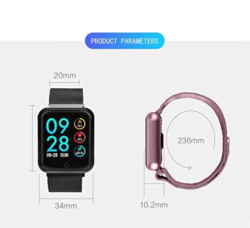 RanGuo - Reloj Inteligente para Hombres, Mujeres y niños, Deportes al aire libre impermeable IP68 Smart Watch para sistema Android y iOS, Apoyo recordatorio de llamada y recordatorio de mensaje (Rosa)