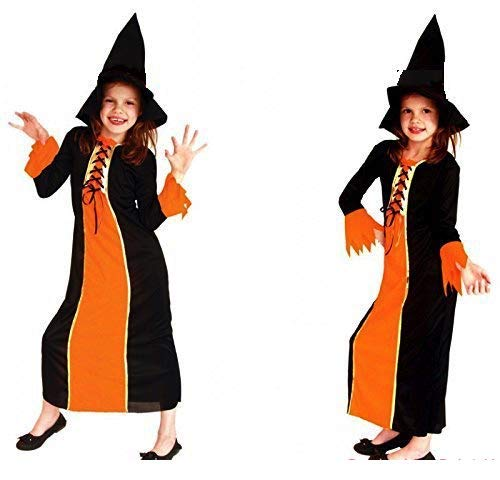 Fancy Steps Halloween Witch Costumes Fly Gown Witch Cap for Girls, Adult