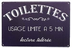 Hioni Toilettes Usage Limite A 5 Min, Pancarte en Métal Panneau Poster Plaque Métallique Slogan Art Décor Vintage Pr Bar Café Pub