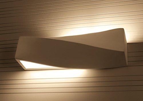 Wandlampe TAURUS mattweiß - bemalbar mit Wandfarbe, E27, Wandleuchte Flurlampe NL.0003