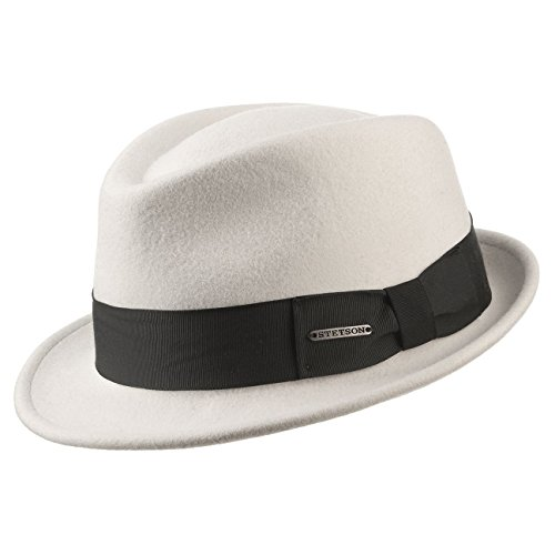Stetson Chapeau Jenks Trilby VitaFelt pour homme de feutre (XL (60-61 cm) - blanc)