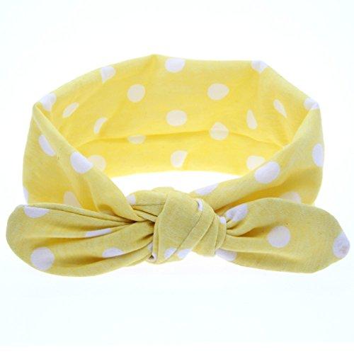 Tonsee Kinder Mädchen Stirnbänder Baby niedliche Hase Ohr Headwraps Mädchen Mode Haare Zubehör Bowknot Haarbänder (gelb)