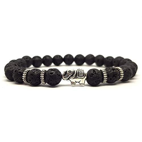 KARDINAL.WEIST Naturstein Perlenarmband aus Lava-Stein mit Tier Charm Perle, Yoga-Schmuck für Damen und Herren, Energie Armband (Elefant)