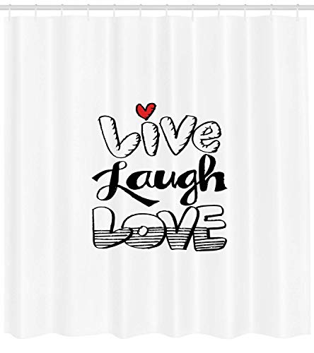 Live Laugh Love Shower Curtain Vintage Hand Drawn Quote Graffiti Wall Art Design Cloth