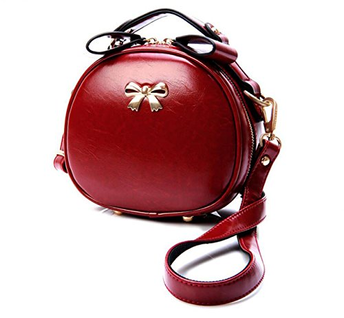 Retro Rotonda Mini Pacchetto Borse Moda Diagonale Spalla Messenger Red