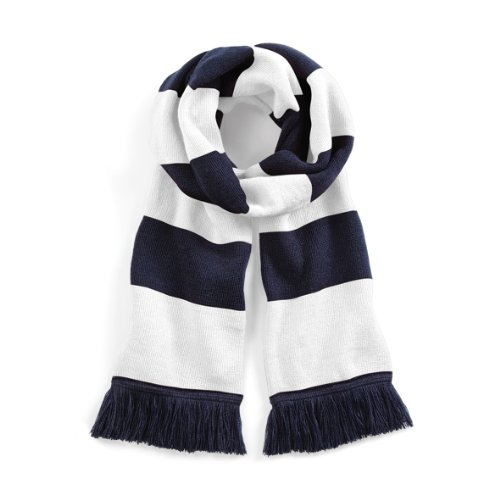 Beechfield Stadium Scarf Echarpe, Multicolore (French Navy/White 00), Taille unique Mixte