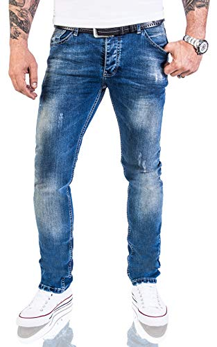 Rock Creek Designer Herren Jeans Hose Stretch Jeanshose Basic Slim Fit [RC-2113 - Denim Blau - W33 L30]