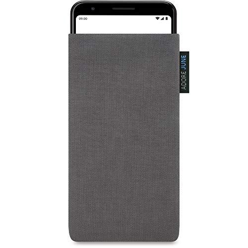 Adore June Classic Dunkelgrau Tasche passend für Google Pixel 3a Handytasche aus widerstandsfähigem Cordura Stoff | Robustes Zubehör mit Display Reinigungs-Effekt | Made in Europe