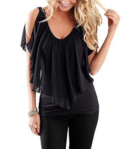 Bigood Femme Couleur Uni T-shirt Décolleté Sexy Top à Volants Épaule Nu Noir