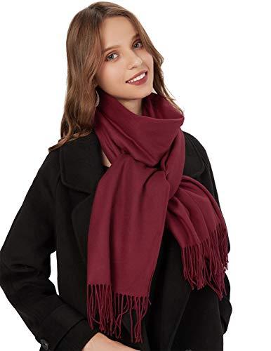 MaaMgic Schal Damen Warm Herbst unifarben Baumwolle mit quasten/fransen, 40+ Farben Einfarbig & Kariert Pashmina xl Schals Stola MEHRWEG Wein Rot