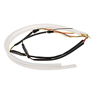 Anself 2 * 60cm LED voiture diurne Light Strip Style Tube DRL Lampe lumière conduite Blanc + Jaune 12V