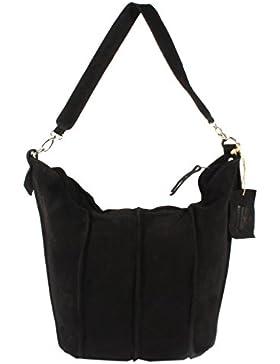 Pattore Premium - große Schultertasche Hobobag Beutel Tasche DIN-A4 UsedLook StoneWashed Wildleder Rindleder Gypset...