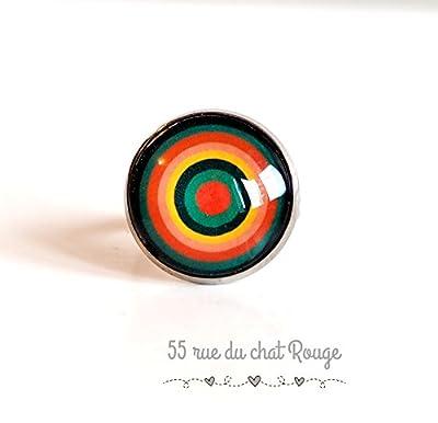 Bague cabochon 18 mm, cercles à l'infini, vert et orange, abstrait, géométrique,