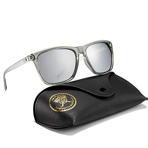 Rocf Rossini Polarisiert Herren Sonnenbrille für Damen klassisch Retro Sonnenbrillen Aluminium-Magnesium-Legierung Männer und Frauen Vintage Anti Reflexion UV400 Schutz - Unisex (Transparent/Silber)