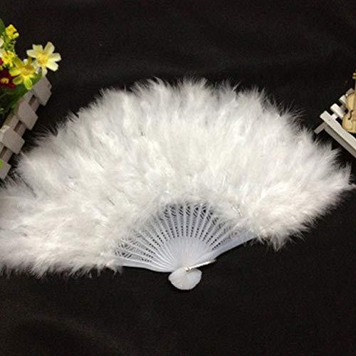 Abanico de mano de plumas grandes, abanico de baile plegable, ideal para...