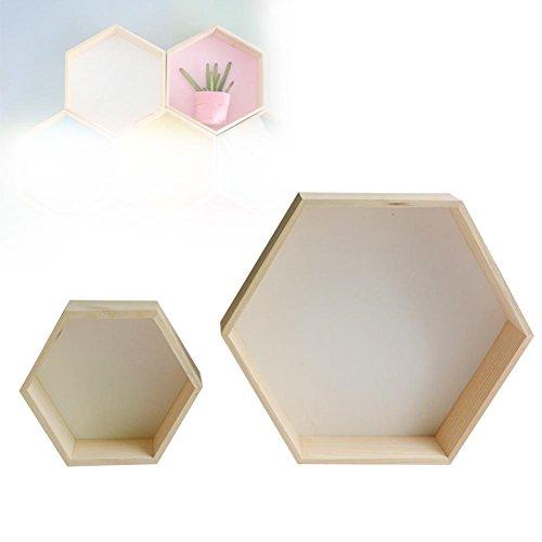 Wandregal Kreatives Holz Sechseck Wandbehang Rack für Buch,Topfpflanze,Dekor(2 Stück, groß + klein)