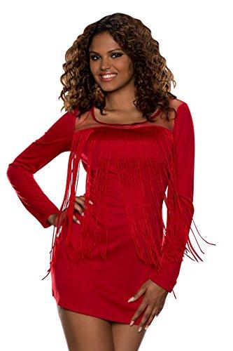 4904 Fashion4Young mini-robe pour femme à franges-look-robe disponible en 5 couleurs pour femme taille 36/38 Rouge - Rouge