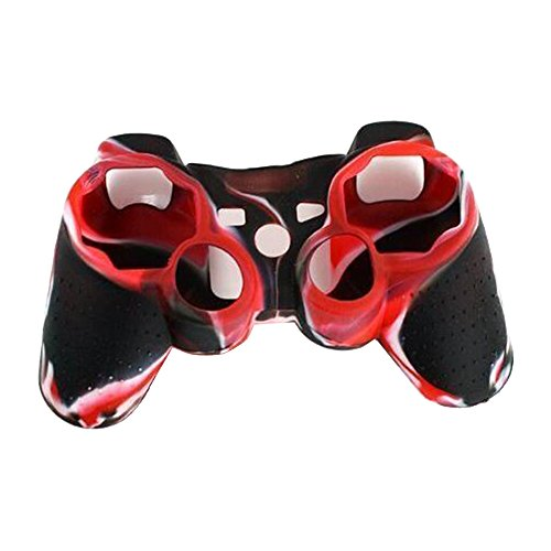 Skitic Silikon Gehäuse Case Schutz Hülle Gehäuse Kasten Abdeckung Tasche für Sony Playstation PS3 Remote Controller - Rot Weiß Schwarz