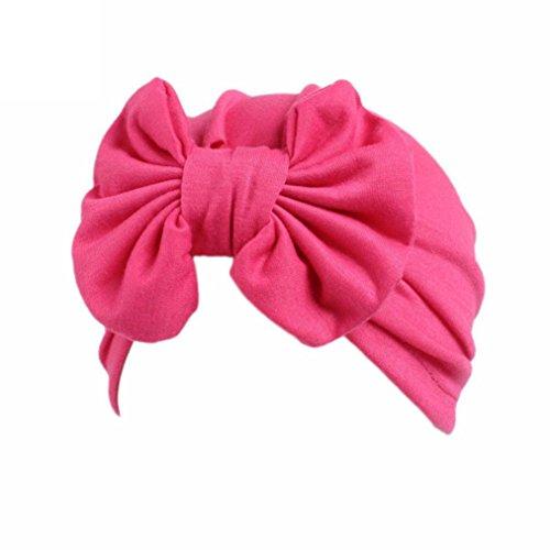 Ears Kids Baby Girl Boho Hat Kinder Baby Mädchen Boho Hut Beanie Schal Turban Kopf Wickeln Cap (Hot Pink)