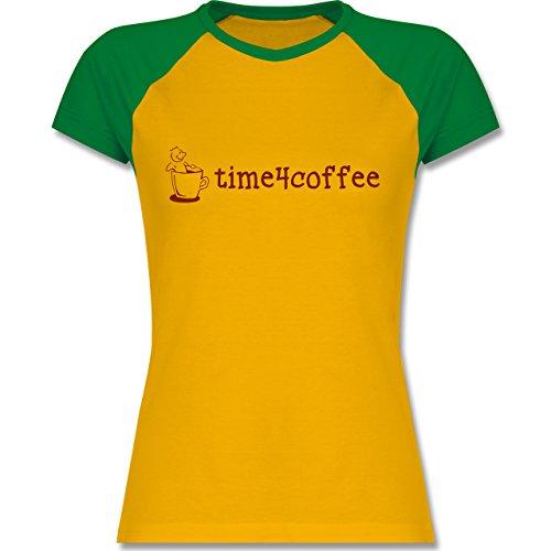Küche - Time4Coffee - zweifarbiges Baseballshirt / Raglan T-Shirt für Damen  Gelb/Grün