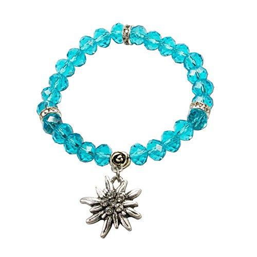 Alpenflüstern Perlen-Trachten-Armband Fiona Crystal mit Strass-Edelweiß - Damen-Trachtenschmuck, Elastische Trachten-Armkette, Perlenarmband Türkis DAB042