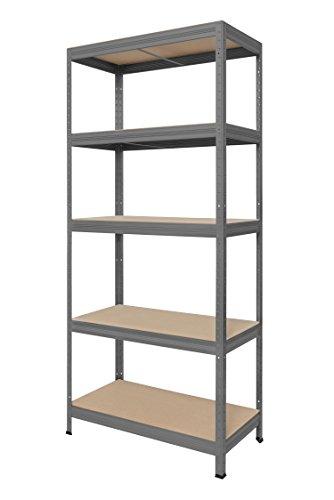 Hans Schourup 13501060 Lagerregal mit 5 böden aus MDF, Traglast von bis zu 275 kg pro Boden, 180 cm x 75 cm x 35 cm, Grau -