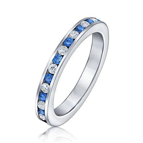 Blau Weiß Abwechselnden Stapelbar CZ Channel Set Eternity Band Ring Simulierten Saphir Für Damen Sterling Silber