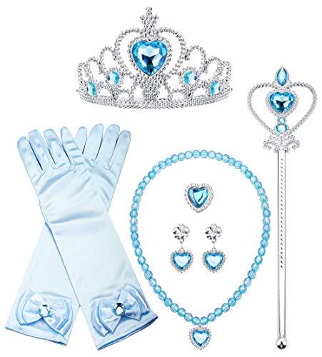 Finrezio Prinzessin Sofia Kostüm Rapunzel Kostüm Zubehör Set inklusive Handschuhe Ohrring Kaiserkrone Zauberstab Halskette Zopf Prinzessin Schmuck für Kinder Mädchen Lila