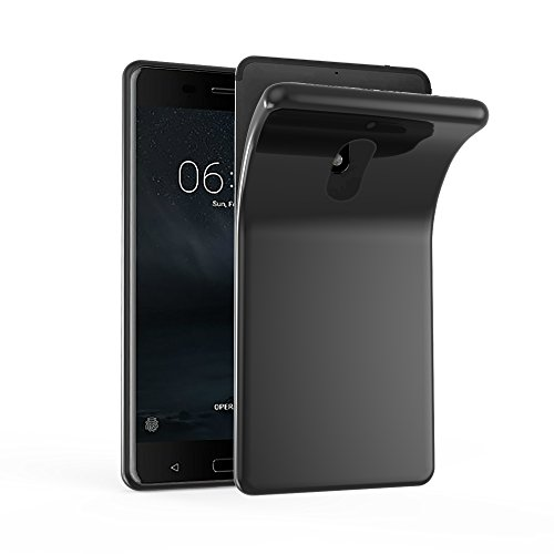 Cadorabo Hülle für Nokia 6 2017 - Hülle in SCHWARZ – Handyhülle aus TPU Silikon im Ultra Slim 'AIR' Design - Silikonhülle Schutzhülle Soft Back Cover Case Bumper
