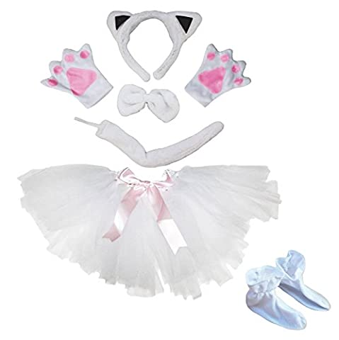 petitebelle weiß Katze Stirnband Schleife Schwanz Handschuh Schuhe Tutu 6Kostüm für Mädchen (Kind Cat Girl Kostüm)