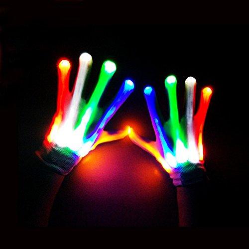 Wokee Light Gloves Bunte Flashing Handschuhe für Karneval Konzert Halloween Masquerade (Masquerade Handschuhe)