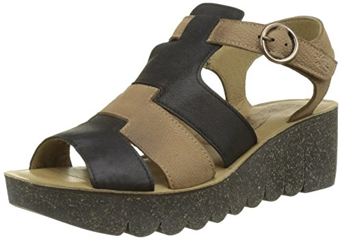 Fly London Yuni188fly, Sandali a Punta Aperta Donna Nero (Black/sand)