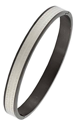 Italian Designer Black Silver Surgical Stainless Steel Openable Free Size Kada Bangle Bracelet Men Boy  available at amazon for Rs.668