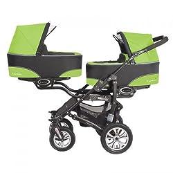 """BabyActive """"Twinni"""" Zwillingskinderwagen Geschwisterwagen Zwillingsbuggy Nr.06 Greenapple"""