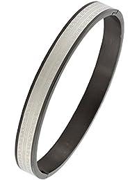 cbb16d411c1d Designer Italien Noir Argent en acier inoxydable chirurgical gratuit pour  ouvrir Taille Kada Bracelet homme Boy