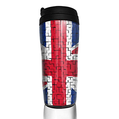 Travel Coffee Mug United Kingdom (2) Flag Puzzle 12 Oz Spill Proof Flip Lid Water Bottle Environmental Protection Material ABS