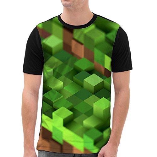 VOID Mine Cube Grafik T-Shirt Herren All-over Druck block würfel spiel game, Größe:XL