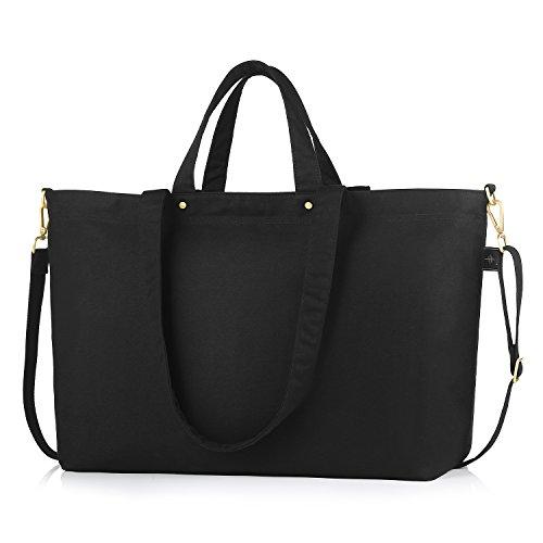 BONTHEE Große Shopper Tasche Schwarze Handtaschen DamenSchultertasche Schwarz - XXL