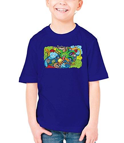 Three Monkeys Crazy Sea-Life Heroes Animals Collection Boys Classic Crew Neck T-Shirt Dark Blue Medium