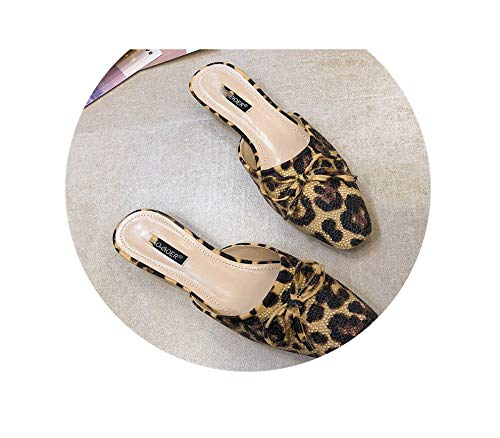 Crystal Studded Sandal (Summer Flats Mules Lady Sandals Slippers Leopard Slip Round Toe Women Outdoor Slipper Fashion Shoes Woman Slides,A,7.5)