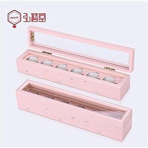 XYXY gioielli scatola di legno di rosa squisito intagliato gioielleria collana di diamanti anello mano Storage Box (colore rosa)