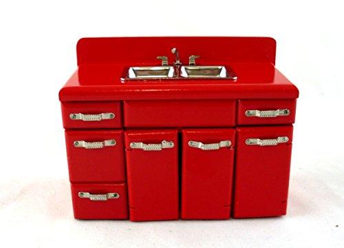 Preisvergleich Produktbild Puppen-haus-miniatur-möbel 4953cms Doppel Spüle-einheit Mischbatterie in rot