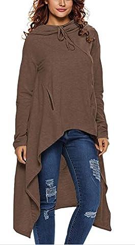 SunIfSnow Women Fashion Stylish Drawstring Hooded Irregular Sweatshirts Pullovers XXL